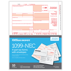 """Office Depot® Brand 1099-NEC Laser Tax Forms And Envelopes, 2-Up, 4-Part, 8-1/2"""" x 11"""", Pack Of 10 Form Sets"""