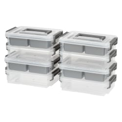 "IRIS 2-Cup Layered Latch Boxes, 10-7/8"" x 7-3/4"" x 5-3/8"", Clear, Pack Of 4 Boxes"