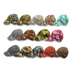 Deep Round Crown Caps, Size 7 1/2, Assorted Prints