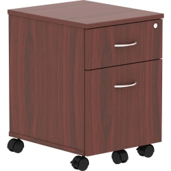 """Lorell® Relevance Series 2-Drawer Mobile File Cabinet, 23""""H, Mahogany"""