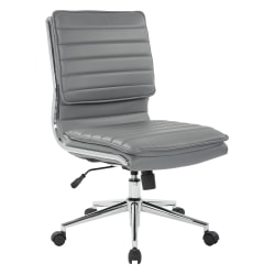 Office Star™ Pro-Line II™ SPX Armless Bonded Leather Mid-Back Chair, Charcoal/Chrome
