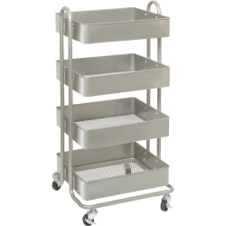 Lorell® 4-Tier Metal Storage Basket Cart, Champagne Gold