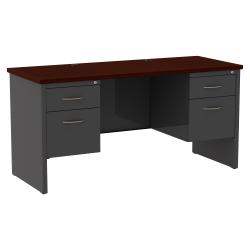 "WorkPro® Modular 60""W x 24""D Double Pedestal Desk, Charcoal/Mahogany"