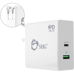 SIIG 65W USB-C PD Charger Power Delivery with QC3.0 Wall Charge - 120 V AC, 230 V AC Input - 3.6 V DC/3 A, 6.5 V DC, 5 V DC, 9 V DC, 12 V DC, 15 V DC, 20 V DC Output