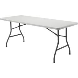 "Lorell® 96""W Rectangular Banquet Table, Black/Gray"
