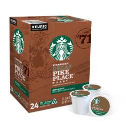 Starbucks® Pike Place Decaffeinated Coffee Single-Serve K-Cup®, 0.1 Oz, Carton Of 24