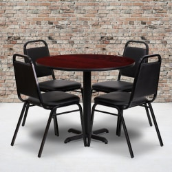 """Flash Furniture Round Table With 4 Banquet Chairs, 30"""" x 36"""", Mahogany/Black"""