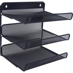 Lorell® Mesh 3-Tier Desk Shelf Organizer, Black