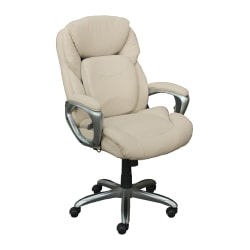 Serta® Works My Fit Bonded Leather High-Back Office Chair With 360° Motion Support, Inspired Ivory/Silver