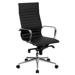 Flash Furniture Ribbed Upholstered Bonded LeatherSoft™ High-Back Swivel Chair, Black/Silver
