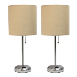 "LimeLights Stick Desktop Lamps With Charging Outlets, 19-1/2"", Tan Shade/Brushed Nickel Base, Set Of 2 Lamps"