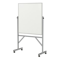 "Ghent Reversible Porcelain Whiteboard And Cork Bulletin Board, 78 1/4"" x 41 14"", Silver Aluminum Frame"