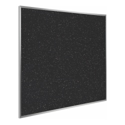 """Ghent Recycled Rubber Bulletin Board, 48 1/24"""" x 4 1/24"""", Confetti Silver Aluminum Frame"""