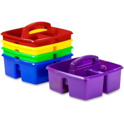 "Storex Classroom Caddy - 3 Compartment(s) - 5.3"" Height x 9.3"" Width x 9.3"" Depth - 50% - Blue, Yellow, Green, Red, Purple - Plastic - 5 / Set"