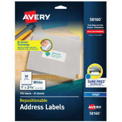 "Avery® Inkjet Repositionable Address Labels, 58160, 1"" x 2 5/8"", White, Pack Of 750"
