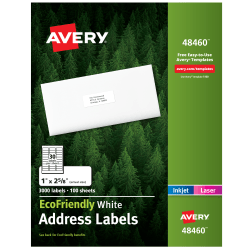 """Avery® Easy Peel® EcoFriendly Permanent Inkjet/Laser Address Labels, 48460, 1"""" x 2 5/8"""", 100% Recycled, White, Pack Of 3,000"""