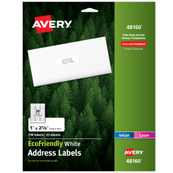 "Avery® Easy Peel® EcoFriendly Permanent Inkjet/Laser Address Labels, 48160, 1"" x 2 5/8"", 100% Recycled, White, Pack Of 750"