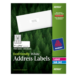 """Avery® Easy Peel® EcoFriendly Permanent Inkjet/Laser Address Labels, 48960, 1"""" x 2 5/8"""", 100% Recycled, White, Pack Of 7,500"""