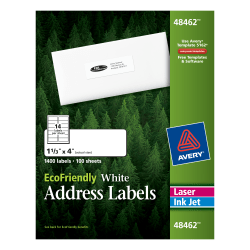 """Avery® Easy Peel® EcoFriendly Permanent Inkjet/Laser Address Labels, 48462, 1 1/3"""" x 4"""", 100% Recycled, White, Pack Of 1,400"""