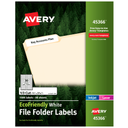 """Avery® Easy Peel® EcoFriendly Permanent File Folder Labels, 45366, 2/3"""" x 3 7/16"""", 100% Recycled, White, Pack Of 1,500"""