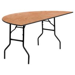 "Flash Furniture Half-Round Folding Banquet Table, 30-1/4""H x 72""W x 36""D, Natural"