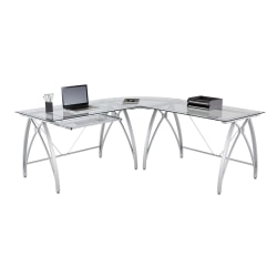 "Realspace® Vista Glass 76""W L-Shaped Desk, Silver"