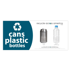 """Recycle Across America Cans And Plastics Standardized Recycling Labels, CP-0409, 4"""" x 9"""", Dark Teal"""