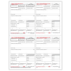 """ComplyRight™ W-2 Tax Forms, 4-Up (Box Format), Employee's Copies B, C, 2 & 2 Combined, Laser, 8-1/2"""" x 11"""", Pack Of 50 Forms"""
