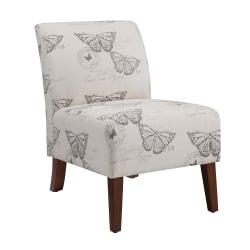 Linon Roxy Butterfly Accent Chair, Dark Espresso