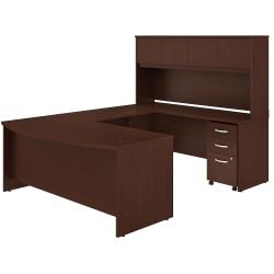 Bush Business Furniture Studio C U-Shaped Desk With Hutch And Mobile File Cabinet, Harvest Cherry, Standard Delivery