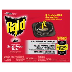 Raid Roach Baits, Double Control, 0.63 Oz, Pack Of 72 Baits