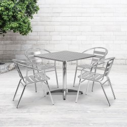 Flash Furniture Square Metal Indoor/Outdoor Table Set With 4 Slat-Back Chairs, Aluminum