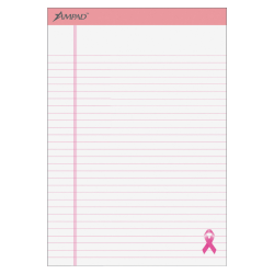 """Ampad® Esselte Breast Cancer Awareness Writing Pads, 8 1/2"""" x 11 3/4"""", Pink/White, 50 Sheets Per Pad, Pack Of 6 Pads"""