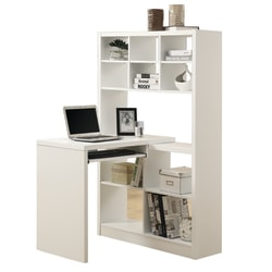 Monarch Specialties Corner Computer Desk With Built-In Shelves, White