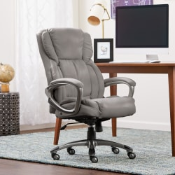 Serta® Works Bonded Leather High-Back Office Chair, Harvard Gray/Silver