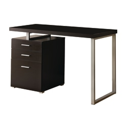 Monarch Specialties Computer Desk With Left/Right Pedestal, Cappuccino
