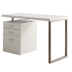 Monarch Specialties Computer Desk With Left/Right Pedestal, White