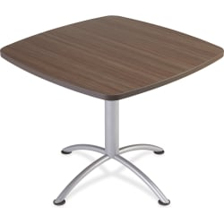 "Iceberg iLand 29""H Square Hospitality Table - Square Top - Powder Coated Silver Base - 36"" Table Top Length x 36"" Table Top Width x 1.13"" Table Top Thickness - 29"" Height - Assembly Required - Laminated, Teak - Particleboard"