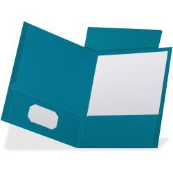"TOPS Oxford Letter Recycled Pocket Folder - 8 1/2"" x 10 63/64"" - 100 Sheet Capacity - 2 Pocket(s) - Linen - Teal - 35% - 25 / Box"