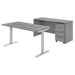 "Bush Business Furniture Studio C 60""W x 30""D Height-Adjustable Standing Desk, Credenza And One Mobile File Cabinet, Platinum Gray, Premium Installation"
