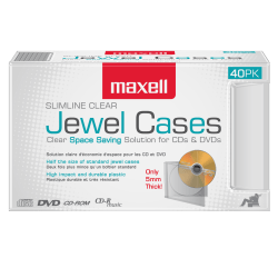 Maxell CD-365 Slimline Jewel Cases, Clear, Pack Of 40