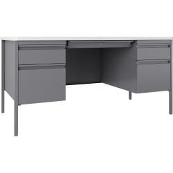 Lorell® Fortress Series Double Pedestal Teacher's Desk, White/Platinum