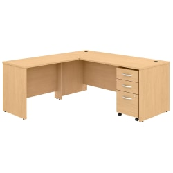 """Bush Business Furniture Studio C 72""""W x 30""""D L-Shaped Desk With Mobile File Cabinet And 42""""W Return, Natural Maple, Standard Delivery"""