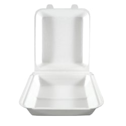 "Hawaii's Finest Products Hinged Containers, 1 Compartment, 8 3/4"" x 7 7/8"", White, Pack Of 100 Containers"