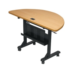 "Balt Flipper Training Table - Teak Half-round Top - 24"" Table Top Length x 48"" Table Top Width x 1.25"" Table Top Thickness - 29.50"" Height - Assembly Required - Black, Powder Coated"