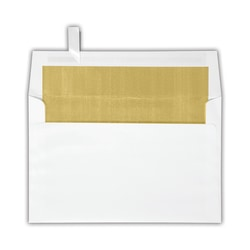 """LUX Invitation Envelopes With Peel & Press Closure, A9, 5 3/4"""" x 8 3/4"""", Gold/White, Pack Of 250"""