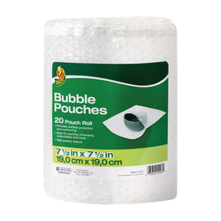 "Duck® Brand Bubble Pouches Roll, 7.5"" x 12', Clear"