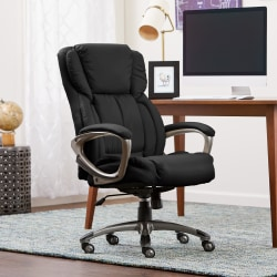 Serta® Works Bonded Leather High-Back Office Chair, Midnight Black/Silver