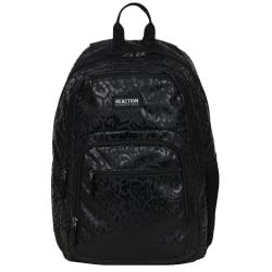 """Kenneth Cole Reaction Polyester Double Gusset Computer Backpack With 15.6"""" Laptop Pocket, Black Leopard"""