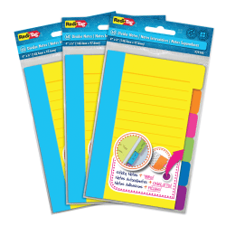 """Redi-Tag Assorted Tab Ruled Sticky Notes - 10 x Blue, 10 x Green, 10 x Orange, 10 x Pink, 10 x Purple, 10 x Yellow - 4"""" x 6"""" - Rectangle - 60 Sheets per Pad - Ruled - Multicolor - Paper - Self-adhesive, Tab, Self-stick - 3 / Pack"""